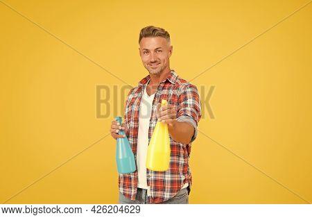 Man Spray Disinfectant Liquid Around Himself, Antibacterial Concept