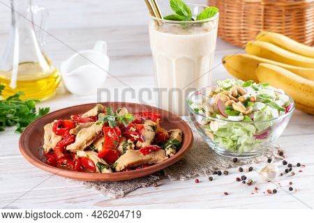 Three-course Set Menu For A Nutritious Healthy Lunch. Three Course Set On A Table In A Business Lunc