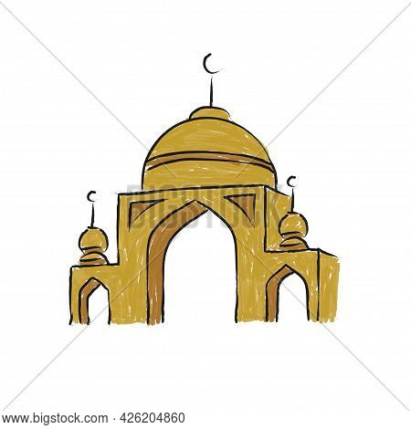 Vector Illustration Of Mosque. Sketch Of Mosque, Isolated Hand Drawn Illustration - Vector
