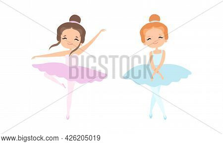 Lovely Little Ballerinas Dancing Set, Cute Little Girls Training Wearing Light Pink And Blue Tutu Dr
