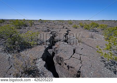 Looking Across The Vast Lava Fields In El Malpais National Monument In New Mexico