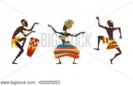 African People In Ritual Dance, Aborigines In Ethnic Traditional Clothing Dancing And Playing Drum C