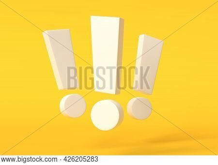 Group Of White Exclamation Marks On Yellow Background. Minimal Ideas Concept. 3d Render, 3d Illustra