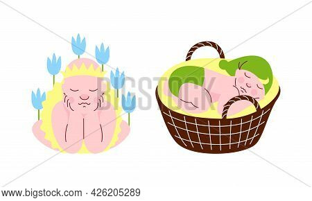 Cute Sleeping Babies Set, Newborn Boy And Girl Sleeping In Flowers And Wicker Basket Set Cartoon Vec