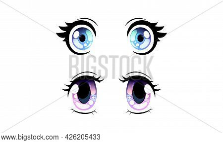 Beautiful Blue And Violet Eyes With Shiny Light Reflections Set, Cute Expressive Eyes In Anime Manga
