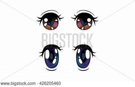 Beautiful Brown And Violet Eyes With Shiny Light Reflections Set, Cute Expressive Eyes In Anime Mang