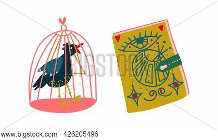 Magic Book And Bird In Cage As Witchcraft Object For Spells And Performing Magical Rituals Vector Se