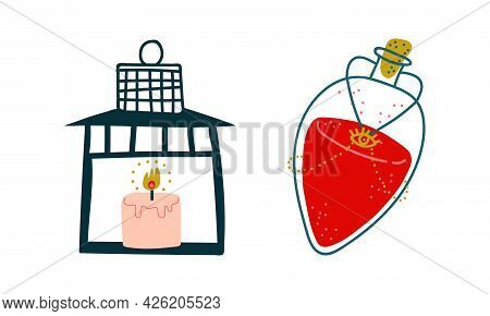Lantern With Candle And Corked Jar With Potion As Witchcraft Object For Spells And Performing Magica