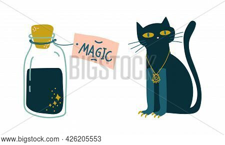Black Cat And Corked Glass Jar With Potion As Witchcraft Object For Spells And Performing Magical Ri