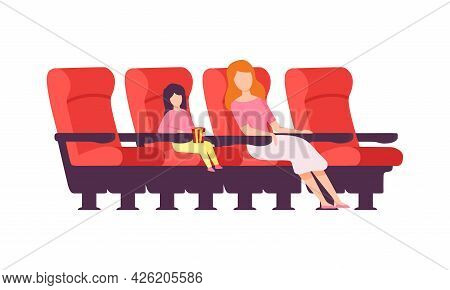 Woman With Kid Sitting In Cinema Or Movie Theater Viewing Film For Entertainment Vector Illustration