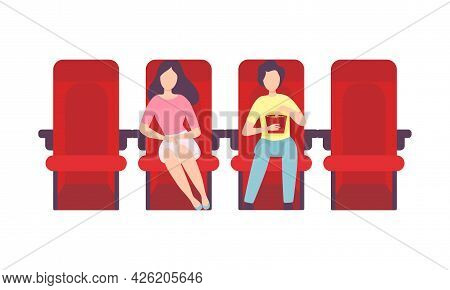 Man And Woman Couple Sitting In Cinema Or Movie Theater Viewing Film For Entertainment Vector Illust