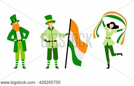 Set Of Happy People In Green Irish National Costumes, Saint Patrick S Day Celebrating Holiday With I