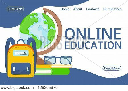 Landing Page Online Training. Flat Design Concept Of Education For Website Banner And Landing Page.