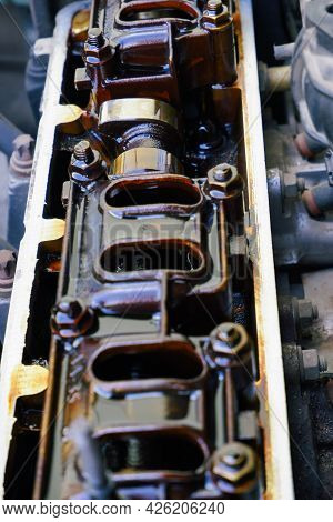 Car Repair. Internal Combustion Engine Repair. Deposits Of Tar From Low-quality Oil On The Engine Ti