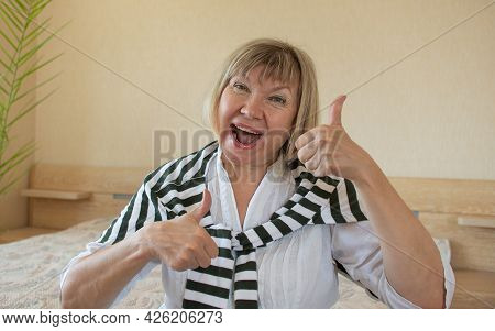 Women Senior Doing Funky Action Gray Hair Woman, Middle Aged Smile Old Woman At Home, Positive Lonel