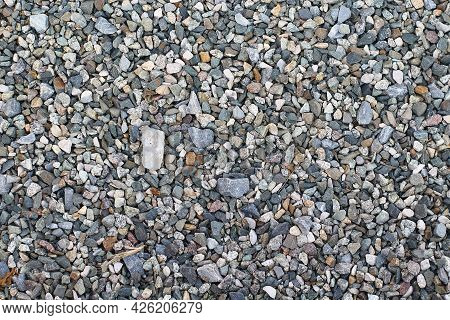 Small Color Stone Texture For Background. Color Gravel Stones For The Construction Industry. Top Vie