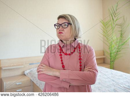 Happy Crazy Fashionable Senior Woman Gray Hair Senior Woman, Middle Aged Maturesmiling Old Woman Wea