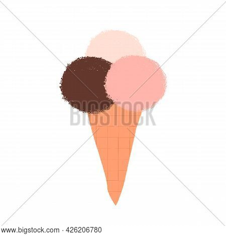 Retro Or Vintage Style Ice Cream Cone With 3 Various Taste Scoops, Chocolate, Vanilla And Strawberry