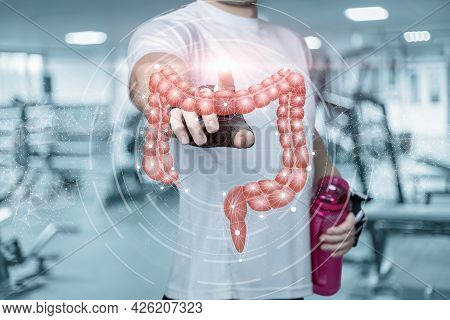 Young Fitness Athlete Clicks On The Intestines. Concept Proper Nutrition And Absorption Of Food Duri