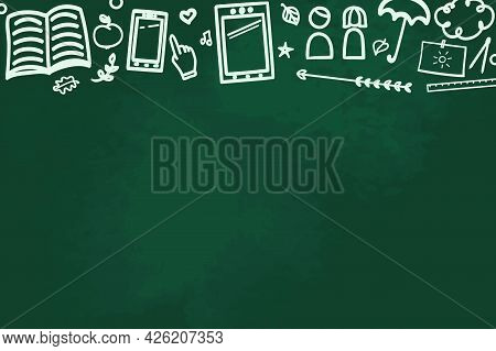 Back To School. Abstract Background With Hand Drawn School Supplies. Blackboard Design. Freehand Dra