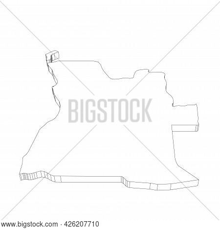 Angola - 3d Black Thin Outline Silhouette Map Of Country Area. Simple Flat Vector Illustration.