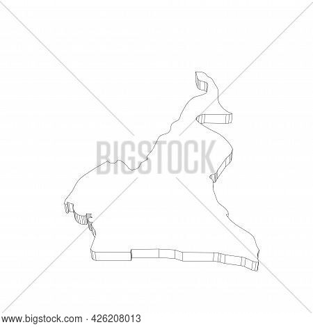 Cameroon - 3d Black Thin Outline Silhouette Map Of Country Area. Simple Flat Vector Illustration.
