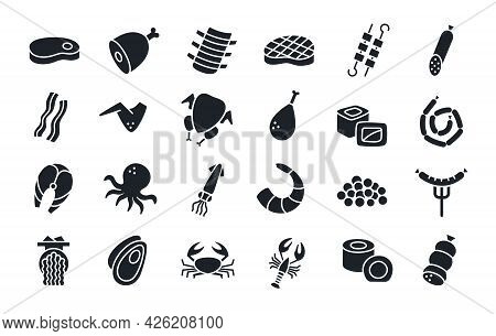 Meat Products Fish Poultry Seafood Silhouette. Black Isolated Silhouettes. Fill Solid Icon. Modern G