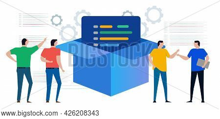Install Box Package Of Software Development Process By Developer Delivering Final Source Code
