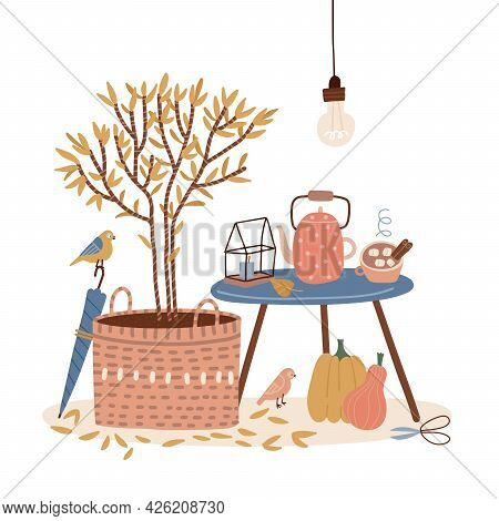 Cozy Card In Hygge Style With Coffee Tanle, Tea Or Coffee Mug, Plant In Basket, Umbrella, Teapot And