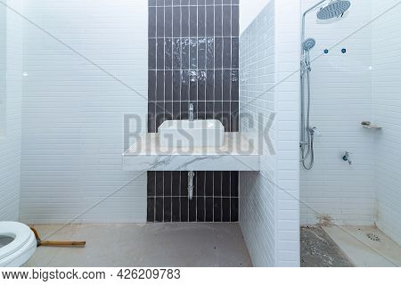Renovation Construction Of Master Bathroom With New Under Construction Bathroom Interior, Unfinished