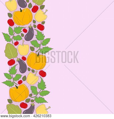 Vector Illustration Of Vegetables On A Pink Background, Pepper, Tomato, Pumpkin And Eggplant.