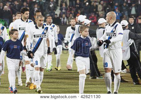 CLUJ-NAPOCA, ROMANIA - FEBRUARY 21: inter Milan players before UEFA Europa League match, CFR 1907 Cluj vs UInter Milan, on 21 February, 2013 in Cluj-Napoca, Romania
