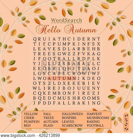 Autumn Word Search Puzzle. Fall Season Crossword  Puzzle For Children Or Adults. Printable Worksheet