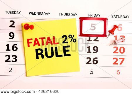 Business Term With Climbing Chart Graph - Fatal Two Percent Rule.