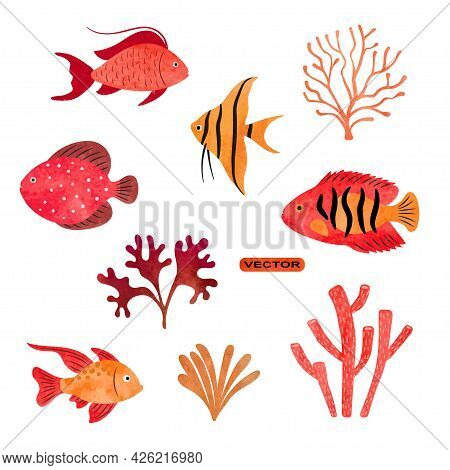 Tropical Fish Vector Set. Coral Reef Watercolor Collection Of Sea Fish, Seaweeds And Corals.