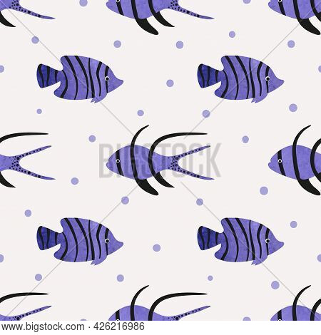 Seamless Tropical Fish Pattern. Vector Sea Background With Violet Watercolor Fish.