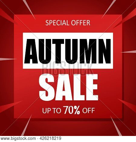 Autumn Sale Banner Special Seasonal Offer Advertising Up To 70% Off Discount Template Design Vector