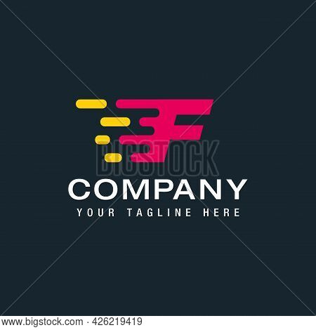 Letter F With Fast Logo, Speed, Moving And Quick, Digital And Technology For Your Corporate Identity