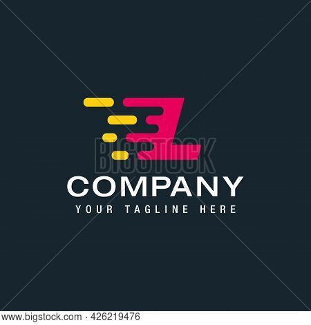 Letter L With Delivery Service Logo, Fast Speed, Moving And Quick, Digital And Technology For Your C