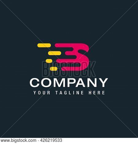 Letter S With Delivery Service Logo, Fast Speed, Moving And Quick, Digital And Technology For Your C