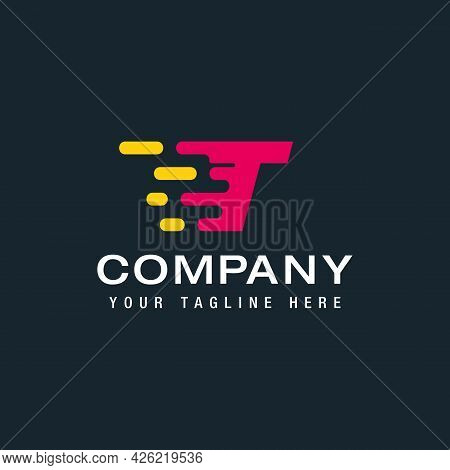 Letter T With Delivery Service Logo, Fast Speed, Moving And Quick, Digital And Technology For Your C
