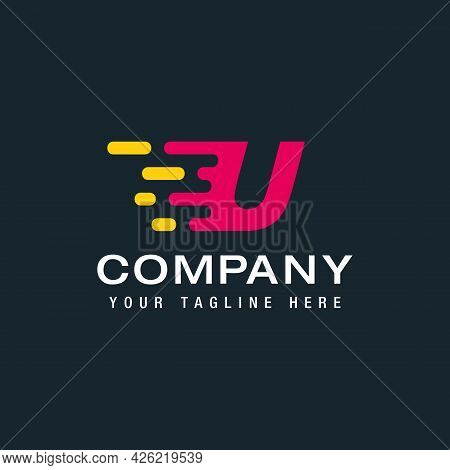 Letter U With Fast Logo, Speed, Moving And Quick, Digital And Technology For Your Corporate Identity