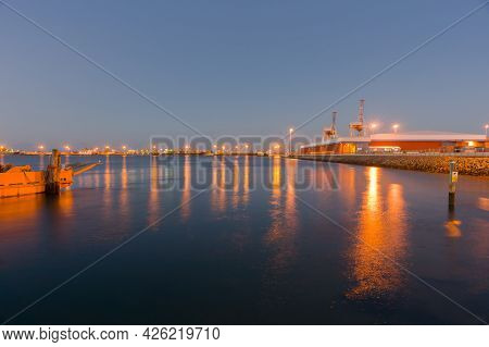 Effect Image Tauranga Harbour, The Yellow Barge, Container Wharf Facility And Wharves Across The Har