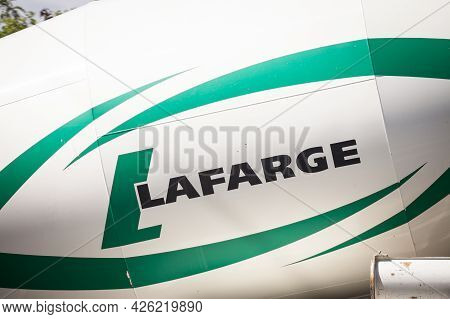 Belgrade, Serbia - May 22, 2021: Logo Of Lafarge Ciments On A Concrete Mixer Truck. Lafarge Is The O