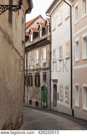 Studentovska Ulica Street, An Empty Picturesque Cobblestone Medieval And Narrow Street By The Ljublj
