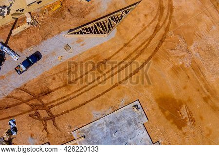 Building Construction Real Property Of Trenches Dug In Ground And Filled With Cement As Foundation F
