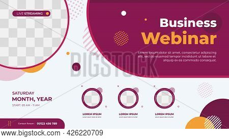 Business Webinar Banner Template For Website With Circle Frame For Speakers And Geometric Minimal Co