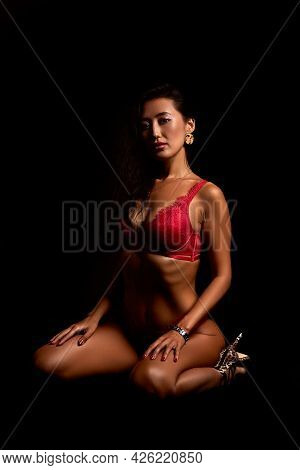 Art Nude. Perfect Body, Sexy Girl On The Black Background