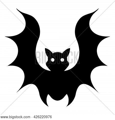 Bat Vector Icon. Isolated Illustration On White. Black Silhouette Of A Nocturnal Predator With Round