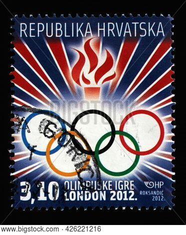 ZAGREB, CROATIA - AUGUST 29, 2014: A stamp printed in Croatia dedicated to Summer Olympic Games 2012 in London, circa 2012